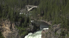 Yellowstone Upper Falls lookout bridge beautiful HD Stock Footage