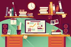 Home office desk - flat design, long shadow, work desk, computer and statione - stock illustration