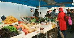 French organic food market with people Stock Footage
