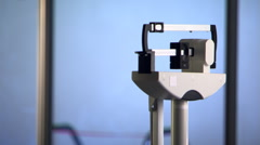 Close view of woman weighing herself on balance beam scale Stock Footage