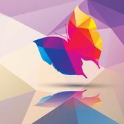 Geometric polygonal butterfly, pattern design, vector illustration - stock illustration