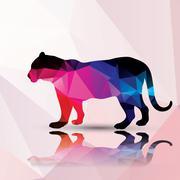 Geometric polygonal leopard, pattern design, vector illustration Stock Illustration