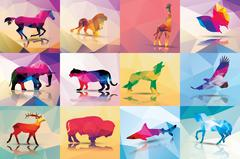 Collection of geometric polygon animals, horse, lion, giraffe, butterfly, ele - stock illustration