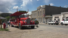 Nevada City Montana historic antique firetruck tour HD Stock Footage