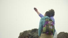 Medium shot of hikers taking a selfie Stock Footage