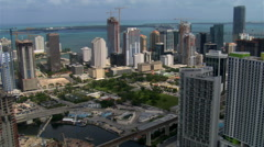 Flight over Miami to view of Four Seasons Hotel. Shot in 2007. Stock Footage