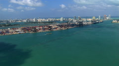 Flight approaching docks on Dodge Island, near Miami. Shot in 2007. Stock Footage