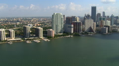 Panorama of Miami waterfront skyscrapers from above Biscayne Bay. Shot in 2007. Stock Footage