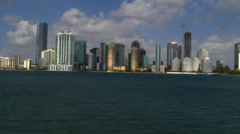 Low flight past Miami skyscrapers along Biscayne Bay. Shot in 2007. Stock Footage
