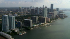 Flying north along Biscayne Bay and Miami waterfront. Shot in 2007. Stock Footage