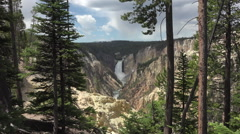 Forest view Yellowstone River Grand Canyon Upper Falls HD Stock Footage