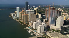 Flight over Miami from Burlingame Island to Rickenbacker Causeway . Shot in Stock Footage