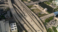 Southerly flight looking down at Miami freeways. Shot in 2007. Stock Footage