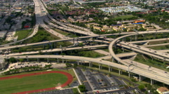 Wide aerial view of Miami interchange. Shot in 2007. Stock Footage