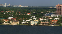 Flying along Biscayne Bay residential area in Miami. Shot in 2007. Stock Footage