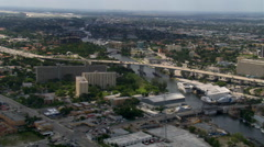 Low flight over Miami River and East-West Expressway. Shot in 2007. Stock Footage