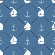 Seamless vector pattern of anchor, sailboat shape and line - stock illustration