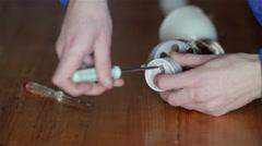 Electrical repairs screwdriver lamp Stock Footage