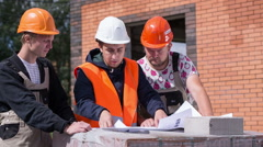 A group of professional engineers and architects Stock Footage