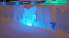 Christmas Russian LED glowing ice fountain Stock Footage