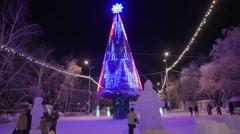 Christmas Russian LED Christmas tree - stock footage