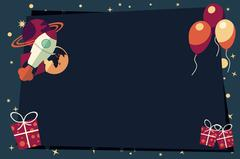 Banners with balloons, presents, rocket ship and planets - stock illustration
