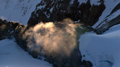 Flying over Oregon's Mt. Hood and steaming volcanic vent - stock footage