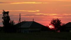 Sunset over the Itkul village, Novosibirsk region, Russia, Full HD Stock Footage