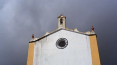 Spooky scary old chapel church, clouds and storm, Portugal Stock Footage
