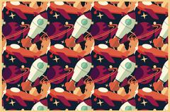 Rocket, planet and airplane in space, seamless pattern - stock illustration