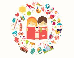 Imagination concept, boy and girl reading a book objects flying out - stock illustration
