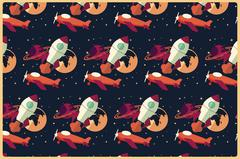 Rocket, planet and airplane in space, seamless pattern Stock Illustration