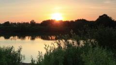 Sunset, Spring flood in the river Kiya. Mariinsk, Kemerovo Region, Russia Stock Footage