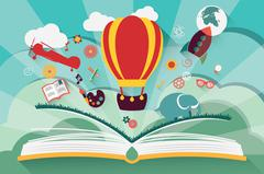 Imagination concept - open book with air balloon, rocket and airplane flying Stock Illustration