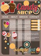 Website template elements, vintage style, candy shop - stock illustration