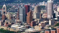Flight looking back at downtown Pittsburgh, Pennsylvania. Shot inn 2003. - stock footage