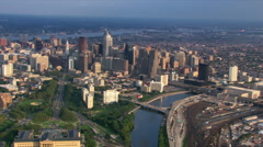 Flight across Schuykill River looking back at Philadelphia. Shot in 2003. Stock Footage