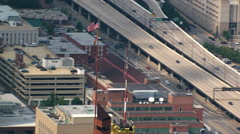 Close flight over Baltimore's Schaeffer Towers and Baltimore Trust building. - stock footage