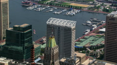 Flight over downtown Baltimore and Inner Harbor. Shot in 2003. Stock Footage
