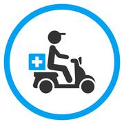 Drugs Motorbike Delivery Rounded Icon - stock illustration