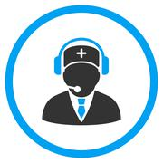 Medical Emergency Operator Rounded Icon - stock illustration