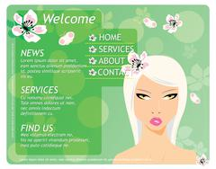 Beauty website template with beautiful girl and flowers Stock Illustration