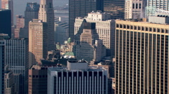 Aerial view across New York City beyond Manhattan skyline. Shot in 2003. - stock footage