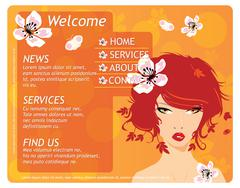 Beauty website template with beautiful girl and flowers - stock illustration