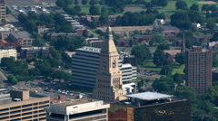 Flight looking back to wide view of Hartford, Connecticut. Shot in 2003. Stock Footage