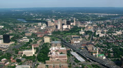 Flight approaching downtown Hartford, Connecticut. Shot in 2003. Stock Footage