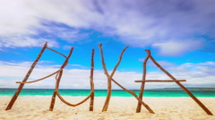 Amazing tropical landscape of Puka Shell Beach at Boracay island. Phillipines Stock Footage