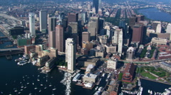 Flight over Boston Harbor with cityscape view. Shot in 2003. Stock Footage
