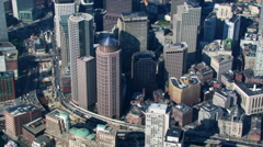 Flight over downtown Boston's Post Office Square Park. Shot in 2003. Stock Footage