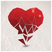 Valentine s day card, geometric triangle pattern, broken heart, label design, - stock illustration